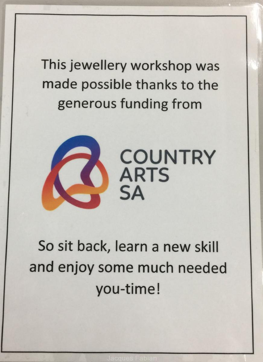 Thanks to the country Arts South Australia for sponsoring the Jewellery Making Workshop for the Peak Hill School of the Air Mums.
