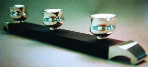 Hand Spun Stirling Silver and Ebony Candle stick holder