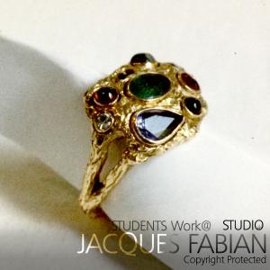 18ct Hand made sculptured Gemstone Ring