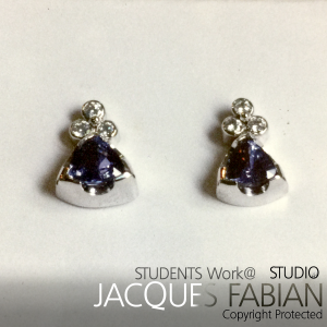 18ct White Gold, Sapphire and Diamond Earring Studs - Jenine